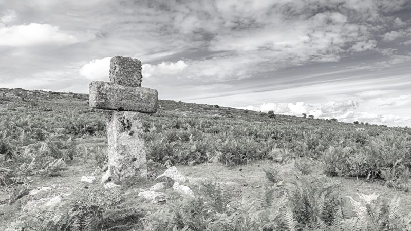 A granite cross on a hill side on Bodmin Moor near Altarnun in Cornwall